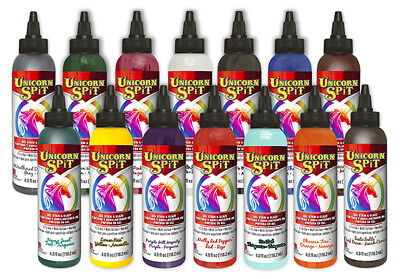Unicorn SPiT Gel Stain, Glaze & Paint  for Wood, Glass, Metal, 14 Colour SET