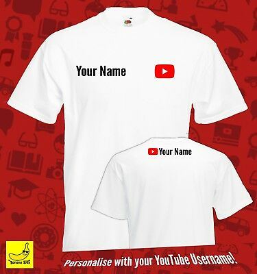 Youtube Personalised Player T-Shirt Youtuber Viral Channel Gaming Vlogger Custom