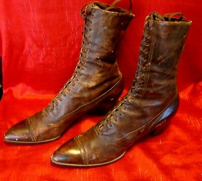 """Vintage - 1924 - Hanan & Son - Womens - High Top Lace Up Boots - """"As Found"""""""