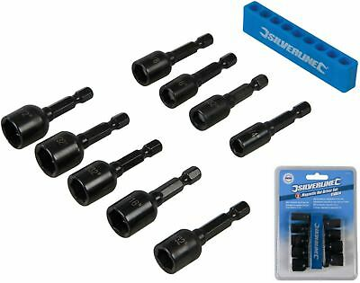 """Silverline 9pc Imperial Magnetic Nut Driver Set 1/4""""-1/2"""" Impact Drill Socket"""