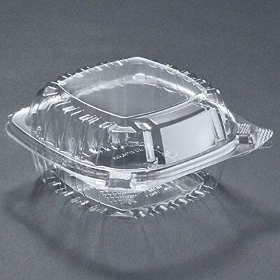Food Container Small Clear Plastic Hinged for Sandwich Salad Cake 50 Pieces NEW