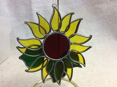 Vintage Stained Glass Sun Catcher Handmade Soldered 4.75 SUNFLOWER