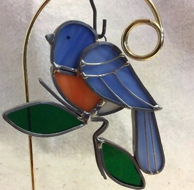 Vintage Stained Glass Sun Catcher Handmade Soldered 5x2.75 BLUEBIRD