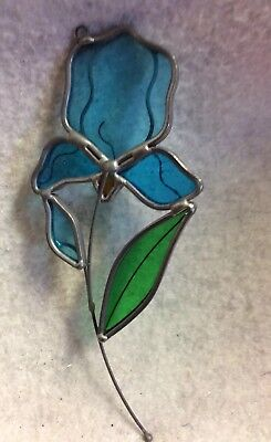 Vintage Stained Glass Sun Catcher Handmade soldered 2.5x6.25 FLOWER BLUE IRIS