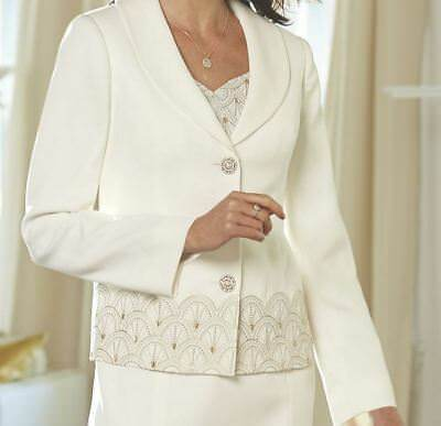Midnight Velvet Ivory Formal Evianna Scalloped Jacket Dress Church 16W 18W PLUS