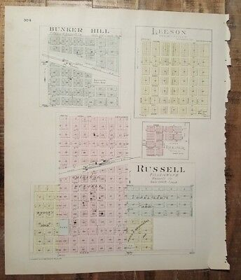 Antique Colored MAP - BUNKER HILL, RUSSELL or RUSSELL COUNTY - 1887 KANSAS ATLAS