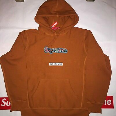 1ffc4dba Supreme Gonz Logo Hooded Sweatshirt Copper L Large Ss18Sw18 In Hand Ships  Fast
