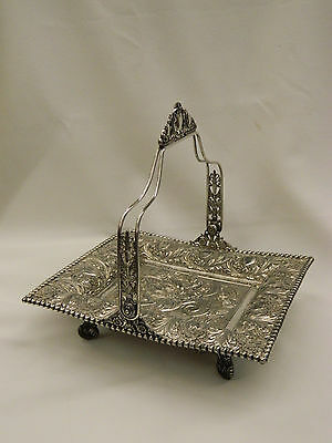 Antique TUFTS Silverplate Elaborate Repoussé Mermaid Victorian Brides Basket