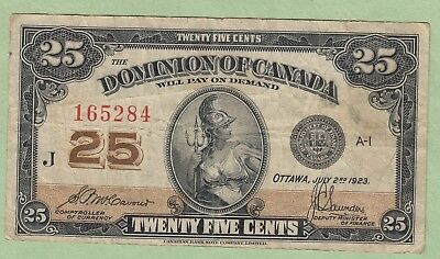 1923 Dominion of Canada 25 Cents Note - McCavouer/Saunders - Fine