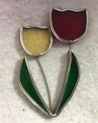 2 Vintage Stained Glass Sun Catcher Handmade soldered 2.5x4Tulips Flowers