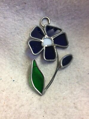 2 Vintage Stained Glass Sun Catcher Handmade soldered 3x4.5 BLUE FLOWER 🌺