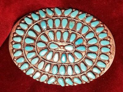 Vintage NM Zuni Silver Turquoise Belt Buckle Needlepoint Native American Indian