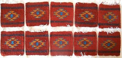 """10 TEN Zapotec Indian 100% WOOL Coaster 5"""" x 5"""" hand made 2000 year old heritage"""