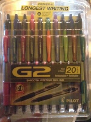 Pilot G2 Retractable Premium Gel Ink Roller Ball Pens Fine Point Pack of 20 A...