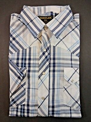 Rustler by Wrangler Western Shirt SIZE XL Mens Blue/White Plaid Pearl-Snap