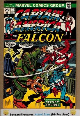 Captain America #174 (8.0-8.5) VF+ X-Men Appearance 1974 Bronze Age Key Issue