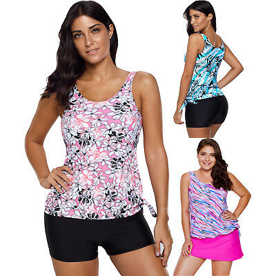Tie side tankini swimsuit summer sexy print lacing womens swimwear with padded