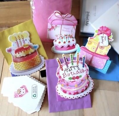 5PCS 3D Layered Greeting Cards Happy Birthday Christmas Cards