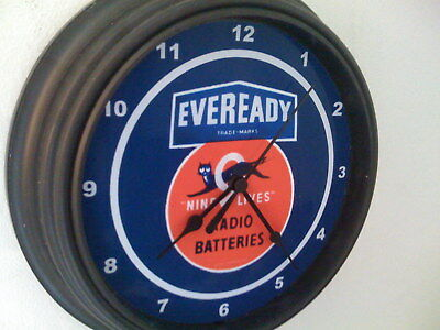 ***Eveready Battery Black Cat Store Advertising Man Cave Black Wall Clock Sign