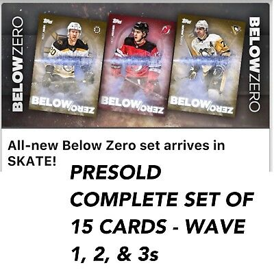 BELOW ZERO PRESELLING COMPLETE SET OF 15 CARDS Topps NHL Skate Digital Card
