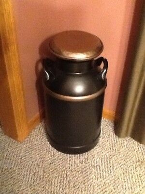 """antique metal milk can 10 gallon 24"""" high looks great condition is good"""