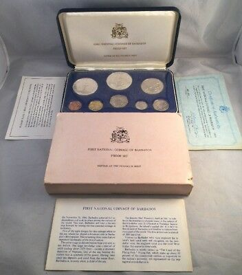 1973 First National Coinage Of Barbados Proof Set W/Silver & COA - Nice!!!!