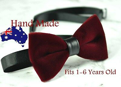 Baby Kids Boy Burgundy Red Velvet Bowtie Bow Tie 1 to 6 Years Old Wedding Party
