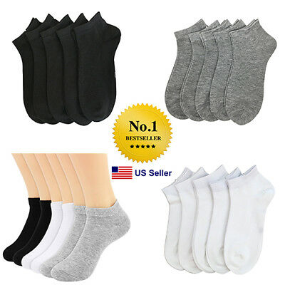 Men Women 6-8 9-11 10-13 Ankle Socks Low Cut No Show Socks Plain Solid Lot 6-12P