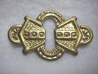 Nos Antique Vtg Victorian Eastlake Solid Stamped Brass Keyhole Cover Escutcheon