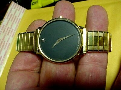 edbff9eddf6d RARE VINTAGE SWISS Gold WITTNAUER BY LONGINES MEN WATCH 1 Diamond ...