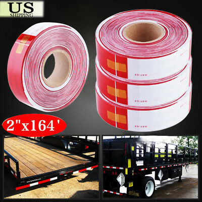 """2""""x164' Dot-C2 Reflective Conspicuity Tape Safety Trailer Truck 6""""red/6"""" White"""