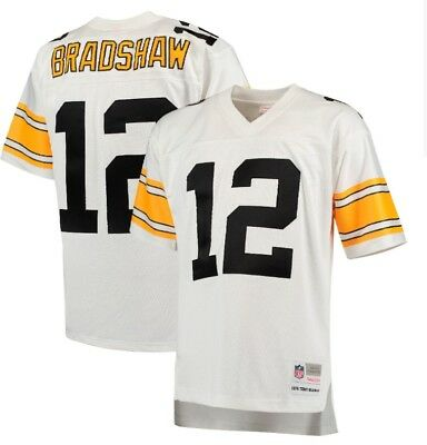 41ed83ff215 Mitchell Ness 1976 Terry Bradshaw  12 Pittsburgh Steelers White Replica  Jersey