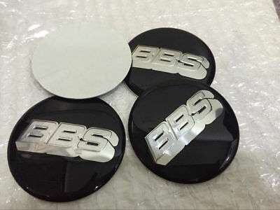4pcs BBS 70mm BLACK SILVER WHEEL CENTER CAP DECAL STICKER Cap Emblem Badge Honda