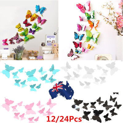 AU 12/24 PCS 3D Butterfly Sticker Art Design Decal Wall Stickers Home Decor Room