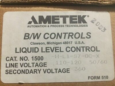 Ametek Liquid Level Control 1500-H-L1-S7-0C-X *new In Box