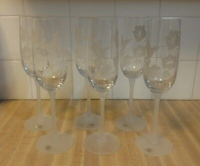 """SET OF 6 Avon Hummingbird Lead Crystal Champagne Fluted Glasses~ 8 7/8"""" Tall~"""
