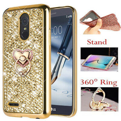 For LG Stylus 3 / Stylo 3 Plus Bling shockproof Case Cover + Ring Stand Holder