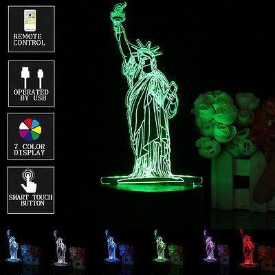 New York City Statue Of Liberty 3D LED Lamp Remote Control Night Light Decor