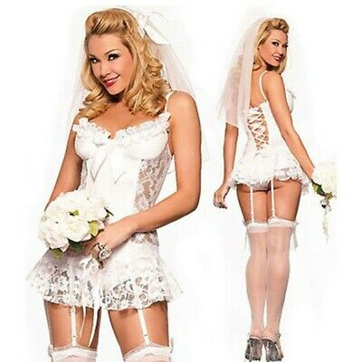 Babydoll Sposa Pizzo Bianco Sexy Lingerie Intimo Velo e Culotte Body Tg S 40 42