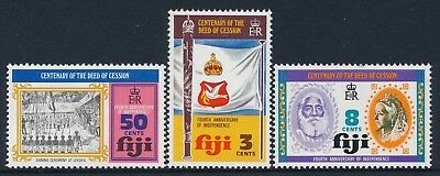 1974 Fiji Deed Of Cession Centenary Set Of 3 Fine Mint Mnh