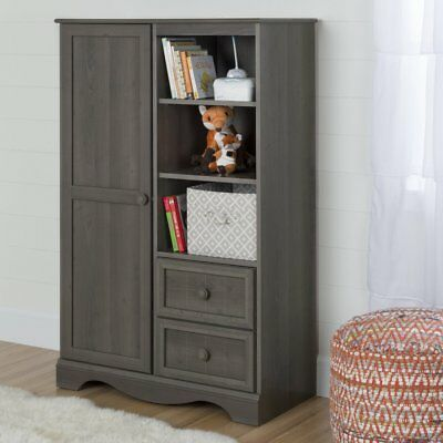 South Shore Savannah Armoire with Drawers, Gray Maple