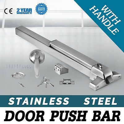 Door Push Bar + Handle Panic Exit Device Lock Safe HQ Adjustable Heavy Duty