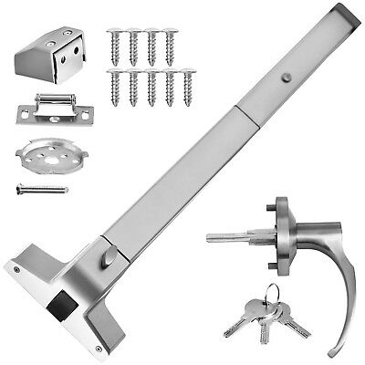 Door Push Bar + Handle Panic Exit Device Lock Spring Bolt Aluminum Commercial