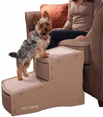 """Dogs 2 Step Stairs Large Wide Steps Rubber Non Slip Grips  22""""L x16""""W x16""""H Tan"""