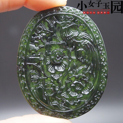 Chinese Natural jade hand-carved black green phoenix pendant necklace
