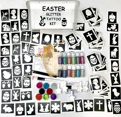 EASTER GLITTER TATTOO KIT 288 LARGE stencils 20 glitters FUNDRAISING SCHOOL