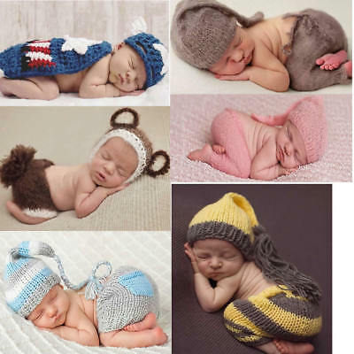 2pcs Newborn Baby Knit Ear Bear Hat Long Tail+Pants Photography Props photo