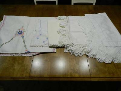 Lot of vtg shabby farmhouse cottage chic mantel buffet scarves