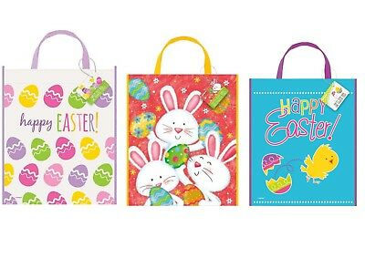 Easter party decorations bunny banner cello cellophane gift bags easter bunny chick treat large tote bags plastic 38cm x 30cm sweet loot gift negle Gallery