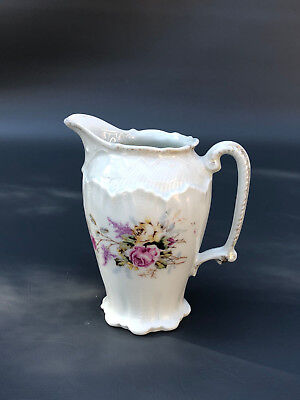 Antique white porcelain creamer 1880's - Pink yellow roses